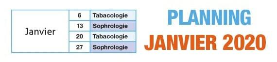 Planning des séances Tabacologie Saint-Etienne Janvier 2020